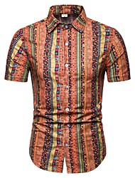 cheap -Men's Daily Beach Street chic Plus Size Slim Shirt - Color Block Classic Collar Red / Short Sleeve