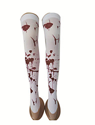cheap -Cosplay Socks / Long Stockings Adults' Women's Halloween Halloween Masquerade Festival / Holiday Fabric Coffee / Red / Red+Black Carnival Costumes Printing