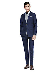 cheap -Dark Grey / Black / Coffee Solid Colored Standard Fit Fiber Suit - Shawl Collar Single Breasted Two-buttons