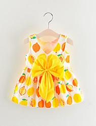 abordables -bébé Fille Basique Fruit Sans Manches Au dessus du genou Coton Robe Jaune / Bébé