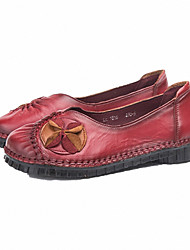cheap -Women's Flats Flat Heel Nappa Leather Spring Black / Brown / Red