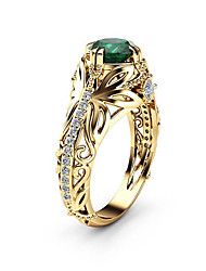 cheap -Women's Ring Promise Ring Synthetic Emerald 1pc Gold Imitation Diamond Alloy Round Asian Luxury Unique Design Engagement Gift Jewelry Classic Retro Drop Cool