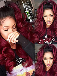 cheap -Synthetic Lace Front Wig Body Wave Layered Haircut Lace Front Wig Burgundy Medium Length Black / Rose Red Synthetic Hair 26 inch Women's Women Black Burgundy Sylvia