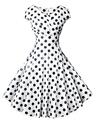 cheap -Women's 2020 Vintage 1950s A Line Dress - Polka Dot Print Wrap V Neck Spring & Summer Black S M L XL Belt Not Included