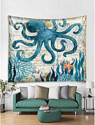 cheap -Oil Painting Style Wall Tapestry Art Decor Blanket Curtain Hanging Home Bedroom Living Room Decoration Seabed Animal Octopus
