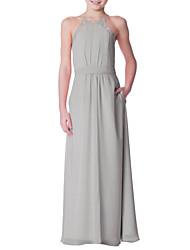 cheap -A-Line Floor Length Junior Bridesmaid Dress Party Chiffon Sleeveless Crew Neck with Bandage