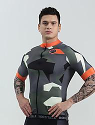 cheap -BOESTALK Men's Short Sleeve Cycling Jersey Black Camouflage Black / White Camo / Camouflage Bike Shirt Jersey Compression Clothing Mountain Bike MTB Road Bike Cycling Moisture Wicking Sports Clothing