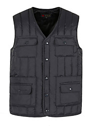 cheap -Men's Daily Basic Solid Colored Plus Size Regular Vest, Polyester Sleeveless Winter V Neck Blue / Gray XL / XXL / XXXL