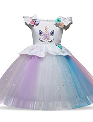 cheap -Princess Midi Wedding / Formal Evening Tulle Sleeveless Jewel Neck with Petal / Ruffles / Pattern / Print