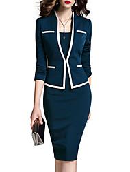 abordables -Femme Travail Veste de costume - Couleur Pleine Robes Col en V / Printemps