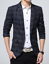 cheap -Khaki / Navy Blue / Gray Plaid / Check Regular Fit Wool / Polyester Men's Suit - Notch lapel collar