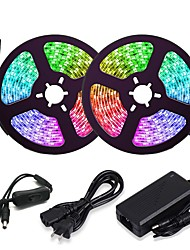 cheap -ZDM 5M 16.4ft LED Light Strips RGB Tiktok Lights 150 LED 5050 SMD 10mm 2811 IC Chasing Magic Dream Color Lights with 1 to 2 On-line switch 12V 3A Power (Not Include Programmable Controller)