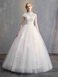 cheap -Ball Gown High Neck Floor Length Lace / Tulle / Lace Over Satin Short Sleeve Vintage Illusion Sleeve Wedding Dresses with Appliques 2020