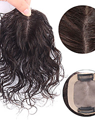 cheap -Laflare Clip In / On Toupee Human Hair Extensions Curly Human Hair Extension Human Hair Extensions Hair Piece Brazilian Hair 1 Piece Fashionable Design Soft Best Quality Women's Natural Black