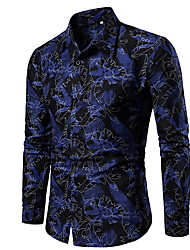 cheap -Men's Shirt Floral Slim Tops Blue Red