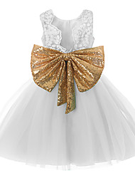 cheap -Princess Midi Wedding / First Communion / Pageant Flower Girl Dresses - Tulle Sleeveless Jewel Neck with Bow(s) / Paillette
