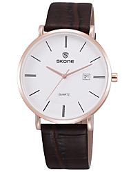 cheap -SKONE Men's Dress Watch Wrist Watch Japanese Japanese Quartz Genuine Leather Black / White / Silver 30 m Calendar / date / day Casual Watch Analog Elegant Minimalist - Golden+White Rose Gold Black