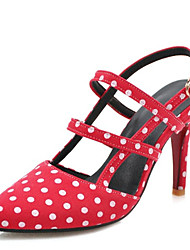 cheap -Women's Heels Stiletto Heel Pointed Toe Imitation Pearl / Buckle Canvas Spring & Summer Black / White / Red / Daily / 3-4