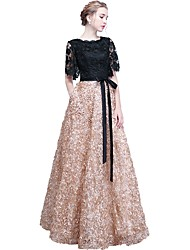 cheap -A-Line Jewel Neck Floor Length Lace Elegant Formal Evening / Wedding Party Dress with Embroidery 2020