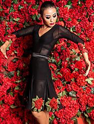 cheap -Latin Dance Dresses Women's Performance Spandex Embroidery / Ruching 3/4 Length Sleeve Dress