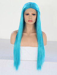 cheap -Synthetic Lace Front Wig Silky Straight Middle Part Lace Front Wig Long Sky Blue Synthetic Hair 24 inch Women's Adjustable Heat Resistant Party Blue