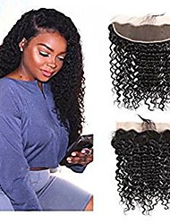 cheap -1 Bundle Brazilian Hair Deep Curly Virgin Human Hair Wig Accessories Hair Weft with Closure 8-20 inch Natural Color Human Hair Weaves Creative Stress and Anxiety Relief New Arrival Human Hair
