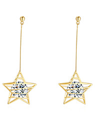 cheap -Women's Cubic Zirconia Drop Earrings Solitaire Star Dangling Korean Sweet Modern Gold Plated Earrings Jewelry Gold / Silver For Gift Causal Going out Work 1 Pair