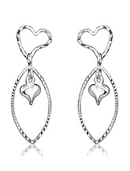 cheap -Women's Drop Earrings Earrings Twisted Heart Trendy Fashion Cute Elegant Silver Plated Earrings Jewelry Silver For Birthday Engagement Gift Daily Date 1 Pair