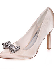 cheap -Women's Wedding Shoes Stiletto Heel Pointed Toe Rhinestone / Bowknot Satin Minimalism Fall / Spring & Summer White / Purple / Champagne / Party & Evening