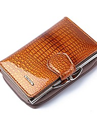 cheap -Women's Bags PU Leather Patent Leather Wallet Zipper Crocodile Daily Date Black Purple Red Coffee