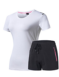 cheap -DZRZVD® Women's Activewear Set Short Sleeve Outdoor Breathable Quick Dry Fast Dry Sweat-Wicking Tee / T-shirt Top Spring Summer POLY Crew Neck Running Camping / Hiking Exercise & Fitness Dark Grey