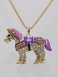 cheap -Women's Pendant Necklace Statement Necklace Necklace Classic Horse Animal Unique Design Classic Fashion Modern Gold Plated Chrome Blue Pink Light Green 70 cm Necklace Jewelry 1pc For Carnival