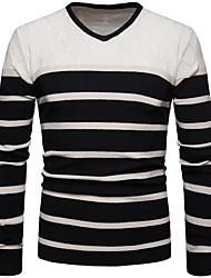 cheap -Men's Striped Pullover Sweater Jumper Black M / L / XL