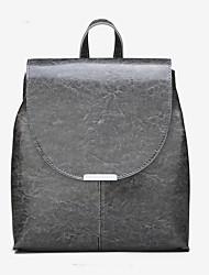 Недорогие -PU Молнии рюкзак Сплошной цвет Школа Черный / Серый / Винный / Наступила зима