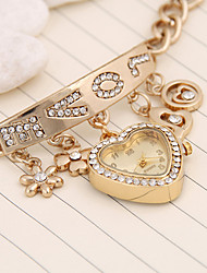 cheap -Women's Bracelet Watch Casual Fashion Gold Candy Pink Alloy Chinese Quartz Gold Cute Casual Watch Analog