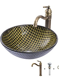 cheap -Bathroom Sink / Bathroom Faucet / Bathroom Mounting Ring Antique - Tempered Glass Round Vessel Sink