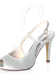 abordables -Femme Satin Printemps été Doux Chaussures de mariage Talon Aiguille Bout ouvert Pourpre foncé / Champagne / Ivoire / Mariage / Soirée & Evénement