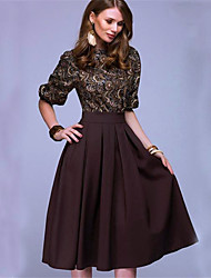 cheap -Women's Elegant Sheath Dress - Geometric Print Blue Brown M L XL