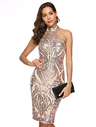 cheap -Women's Beige Dress Elegant Sophisticated Homecoming Cocktail Party Bodycon Sheath Geometric Halter Neck Sequins S M Slim