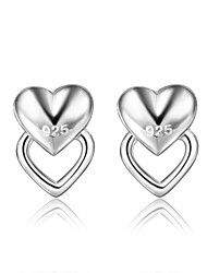 cheap -Women's Earrings Geometrical Heart Trendy Fashion Cute Elegant Silver Plated Earrings Jewelry Silver For Birthday Engagement Gift Daily Date 1 Pair