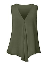cheap -Women's Casual / Daily Beach Blouse - Solid Colored Ruffle / Chiffon V Neck Ocean Blue XXXXL / Spring / Summer