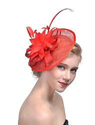 cheap -Women's Ladies Tiaras Fascinators For Wedding Party / Evening Prom Princess Feather Fabric Fuchsia Red Beige
