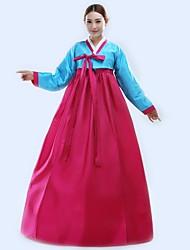 abordables -Hanbok Girl Enfant Fille Asiatique Coréen traditionnel Jeogori Hanbok Magoja Pour Soirée de Fiançailles Enterrement de Vie de Jeune Fille Autre matériel / Coton Longueur Sol Manteau Jupe Ceinture de