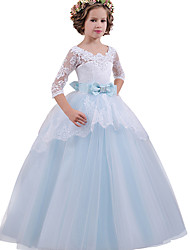cheap -Princess Long Length Flower Girl Dress - Lace / Tulle Half Sleeve Jewel Neck with Bow(s) / Crystals / Lace