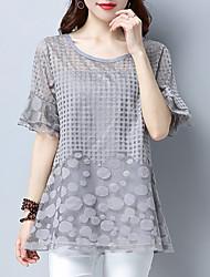 cheap -Women's Plus Size T-shirt - Solid Colored Mesh Black