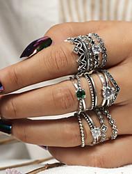 cheap -Ring Classic Silver Acrylic Alloy Crown Lucky Trendy Fashion Boho 12pcs / Women's / Ring Set
