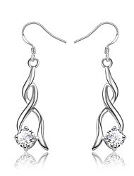 cheap -Women's Clear Cubic Zirconia Drop Earrings Chandelier Trendy Fashion Cute Elegant bridesmaid Silver Plated Earrings Jewelry Silver For Birthday Engagement Gift Daily Date 1 Pair