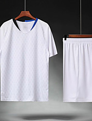 abordables -Homme Football Maillot de foot et shorts Ensembles de Sport Respirable Anti-transpiration Sports d'équipe Entraînement actif Football Rayure Polyester Adultes Blanc