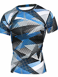cheap -Men's Compression Shirt Short Sleeve Compression Base layer T Shirt Top Plus Size Lightweight Breathable Quick Dry Soft Sweat-wicking Black / White Blue / White Camouflage Winter Road Bike Mountain