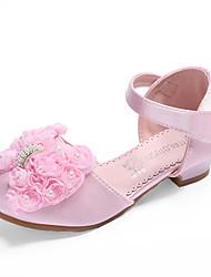cheap -Girls' Flower Girl Shoes / Tiny Heels for Teens Satin Sandals Toddler(9m-4ys) / Little Kids(4-7ys) / Big Kids(7years +) Bowknot Light Pink / Ivory Summer / Fall / Wedding / Party & Evening / Wedding